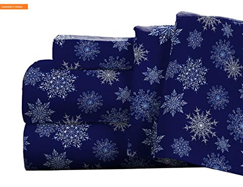 Lexington Daybed - Mikash New Soft Flannel Deep Pocket Set with Oversized Flat Sheet King Snow Flakes Navy | Style 84599485