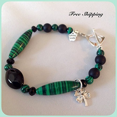 Green and Black Natural Malachite and Onyx Lucky Gemstone Bracelet With Swarovski Crystals and Sterling Silver Four Leaf - Mountain Green Onyx