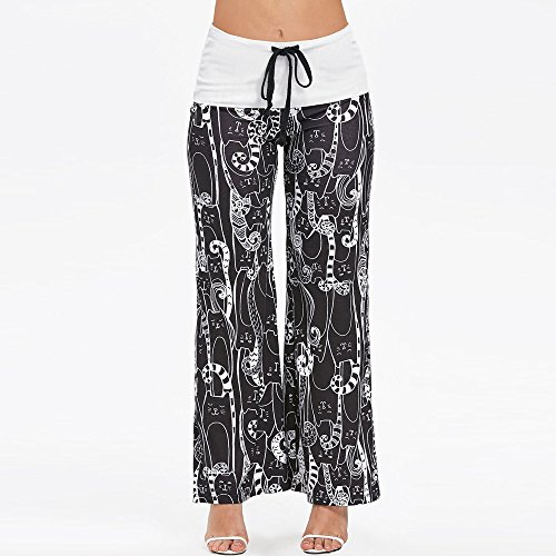 Women Wide Leg Pants☃Foncircle Women Cat Printed Bottons Drawstring Trousers for $<!--$5.71-->