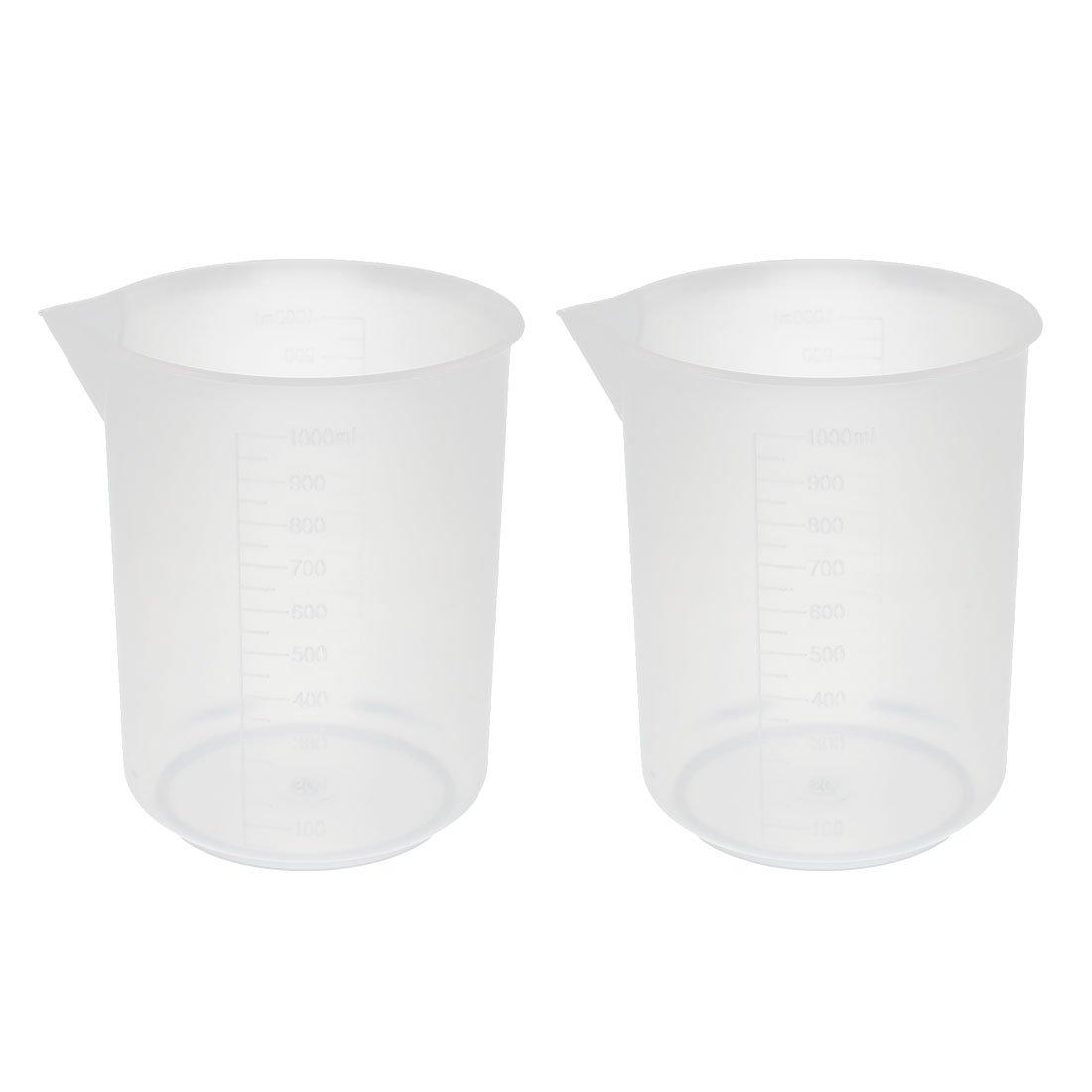 uxcell 2 Pcs 1000mL School Laboratory Transparent Plastic Liquid Container Measuring Cup Beaker