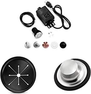 Garbage Disposal Air Switch Kit with Short Brushed Button,Splash Guard Collar Sink Baffle,Kitchen Sink Stopper Group,3 3/8 inch
