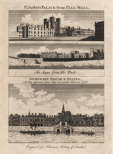 St James's Palace from Pall Mall/ St James's Park. Somerset House. HARRISON - 1776 - old print - antique print - vintage print - art picture prints of - Mall Somerset