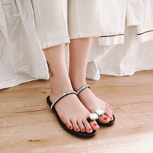 Black Toe Ring Slippers Summer Women RAZAMAZA wFqAOB5