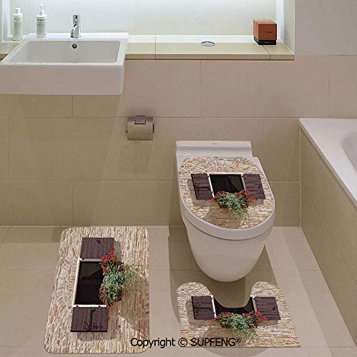 three-piece toilet seat pad custom Antique Looking Window on an Ancient Stone Wall With Flowers Pienza Tuscany Picture Rug + Lid Toilet Cover + Bath Mat/ Non-Slip/ Pedestal Digital Print Fashion Art