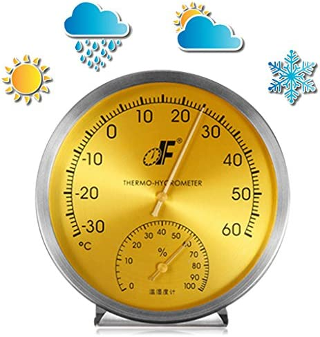 Thermometer/Hygrometer, Edelstahl, analoges Zifferblatt