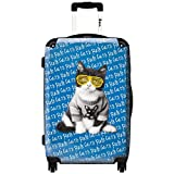 iKase 'Cat Yellow Glasses' Check-in 24-inch,Hardside Spinner Suitcase