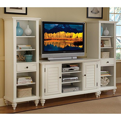 Home Styles Brushed White Bermuda Three-piece Entertainment Center with Open Storage, Two Wood Panels Doors, Adjustable Shelves, and Cable Access