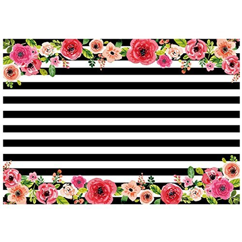 TOOGOO(R) 7x5ft photography backdrops Black and white stripe watercolor pink flower banner Birthday party wedding bridal shower decoration photo studio booth background photocall Style6