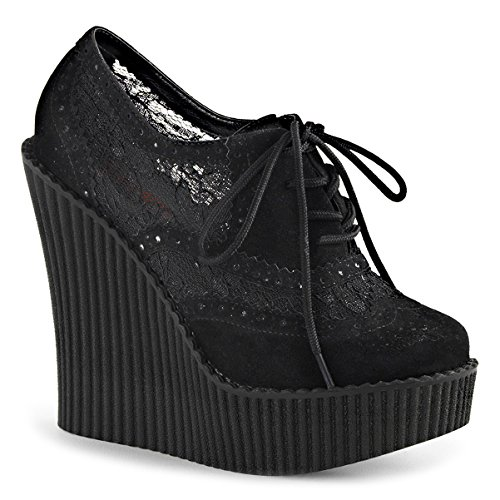 Topfashion Womens All Black Wedges Lace Up Schoenen Platform Creepers Shoes Vegan Suede 5¼ In