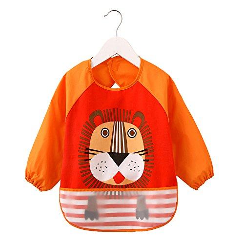 momloves-waterproof-sleeved-bibinfant-toddler-baby-waterproof-bib6-36-months-orangelions