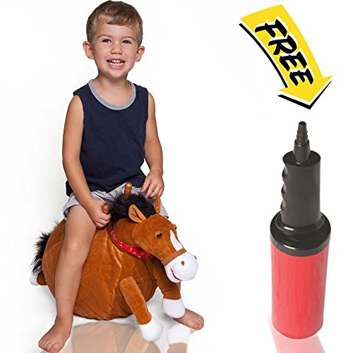 WALIKI TOYS Mr Jones: Small Plush Horse Hop Ball Hopper (Ages 3-5) Hopping Sit and Bounce with (Mr Burns Mask)