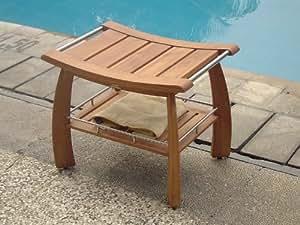 "24""x17"" Grade-A Teak Wood Shower / Bath Room / Pool Bench with Shelf"