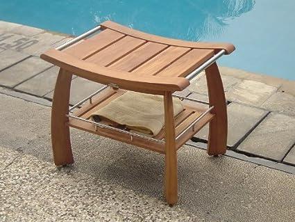 Amazon.com: TeakStation Grade-A Teak Wood Shower / Bath Room / Pool ...