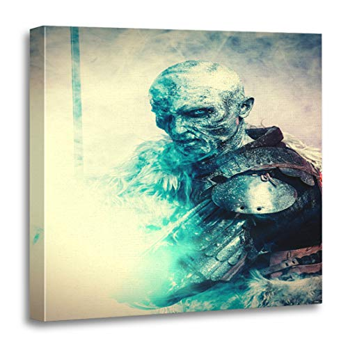 Emvency Canvas Wall Art Print White Demon Halloween Frozen Snow Covered Zombie Warrior Artwork for Home Decor 20 x 20 -