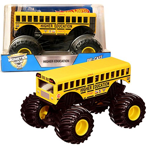 Hot Wheels Year 2017 Monster Jam 1 24 Scale Die Cast Metal Body Official Monster Truck Series   School Bus Higher Education Dhy72 With Monster Tires  Working Suspension And 4 Wheel Steering