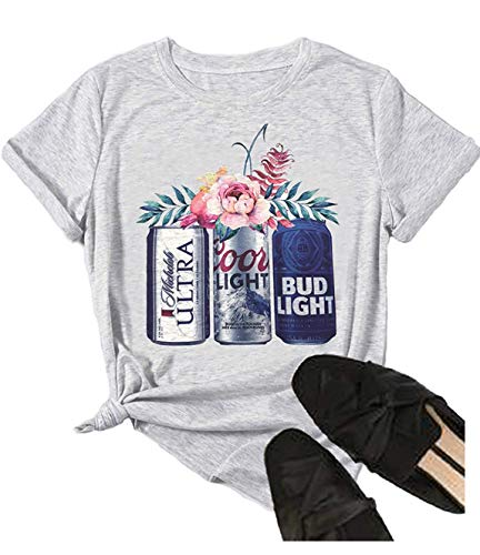 Women Summer Casual T Shirts Cute Funny Beer and Flower Graphic Vintage Short Sleeve Workout Tee Tops for Drinking Party (XX-Large, Grey)