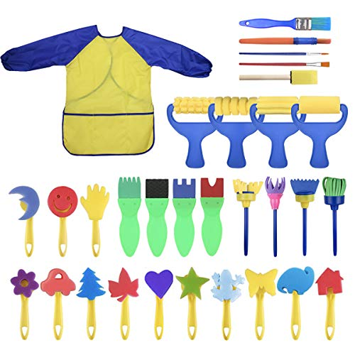YallFairy Washable Paint Brushes Set for Toddler Kids Early Learning Toys Finger Paints sponges Art Supplies Gifts -nontoxic-100% Baby -
