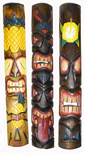 40 In Set of 3 Tribal Polynesian Tiki Bar Turtle Pineapple Design Masks Hand Carved Island tropical Decor