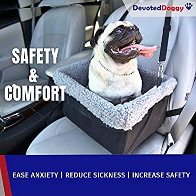 Devoted-Doggy-Deluxe-Dog-Booster-Car-Seat-Premium-Quality-Metal-Frame-Construction-Clip-on-Safety-Leash-Zipper-Storage-Pocket-Perfect-for-Small-and-Medium-Pets-Up-to-15-Lbs
