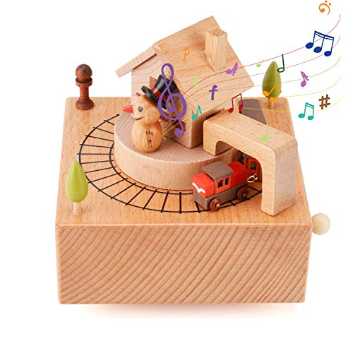 Wooden Musical Box Featuring House Snowman with Small Moving Magnetic Train,Baby Bed Toy Decoration Birthday Present Christmas Thanksgiving Graduation Days Gift for Kids Children (Snowman - Train) (Box Musical Wooden)
