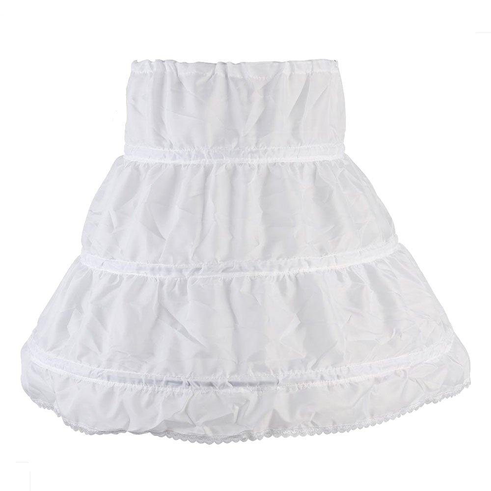 Mädchen Petticoat, 3 Runden Unterröcke Reifrock, Rüschen Petticoat, Flauschiger Prinzessinnenrock gefüttert für Kinder (Weiß) Mädchen Petticoat Rüschen Petticoat