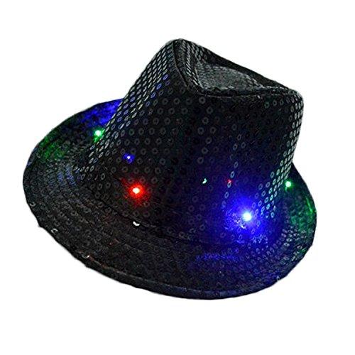Flashing Light Hat (LED Jazz Hat,TILO Women Men Unisex Adult Glitter Sequins Jazz Hat Led Light Up Fedora Cowboy Hats Costume Party Cap for Dancing Party with 9 Flashing LED Lamps 58cm/23