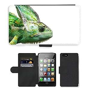 GoGoMobile PU LEATHER case coque housse smartphone Flip bag Cover protection // M00124190 Reptil del camaleón de Yemen Mascotas // Apple iPhone 4 4S 4G