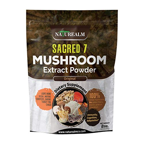 (Sacred 7 Mushroom Extract Powder - USDA Organic - Lion's Mane, Reishi, Cordyceps, Maitake, Shiitake, Turkey Tail, Chaga - Supplement - Add to Coffee/Tea/Smoothies - Whole Mushrooms - No fillers)