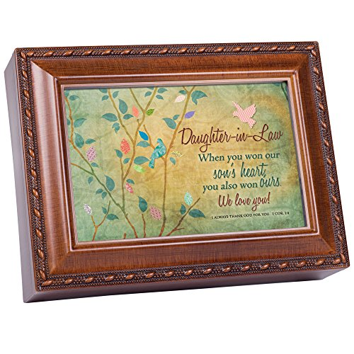 Daughter-in-Law Cottage Garden Rich Woodgrain Finish with Rope Trim Jewelry Music Box - Plays Song Amazing Grace