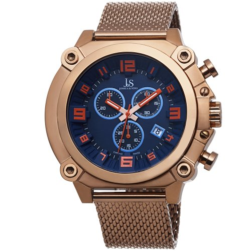 Gold Dial Multifunction (Joshua & Sons Men's JS58RG Rose Gold Multifunction Swiss Quartz Watch With Blue Dial and Rose Gold Mesh Bracelet)