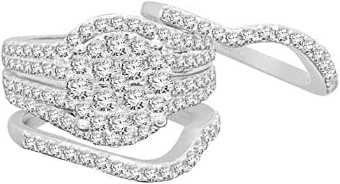 Diamond Bands Halo Ring Set 10K White Gold 2.22 Carat Real Diamond Engagement Ring Wedding Band Bridal Set