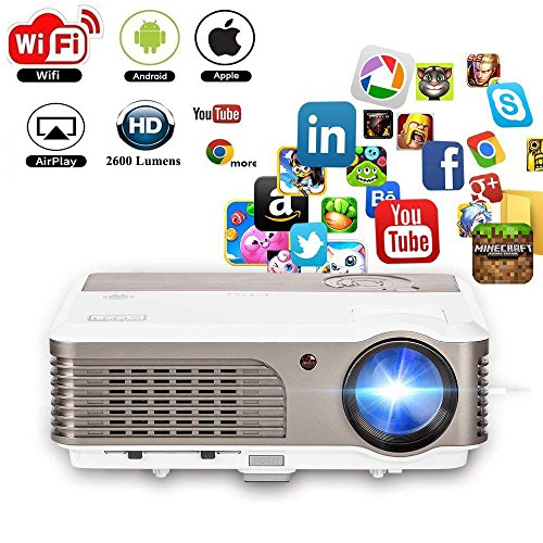 Android Projector WiFi Wireless Support Full HD 1080P 2600 Lumens 150