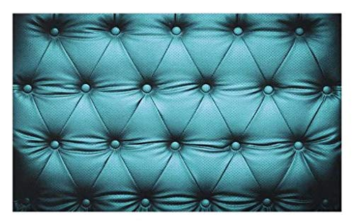 Lunarable Turquoise Doormat, Buttoned Couch Sofa Bed Headboard Leather Cover Furniture Upholstery Artwork Print, Decorative Polyester Floor Mat with Non-Skid Backing, 30 W X 18 L Inches, (Buttoned Leather)