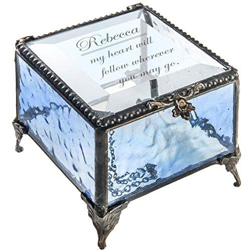 J Devlin - Sarah Series - Personalized Glass Box Engraved Keepsake Gift for Wife, Girlfriend, Daughter Decorative Keepsake Jewelry Trinket Box (Blue) Box 837 - Glass Tabletops Etched