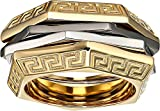 Versace Unisex Tricolor Ring Gold/Silver/Black Ruthenium 23 (US 9)