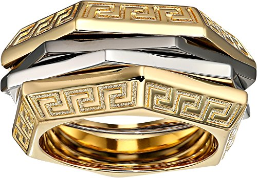 Versace Unisex Tricolor Ring Gold/Silver/Black Ruthenium 23 (US 9) by Versace (Image #1)