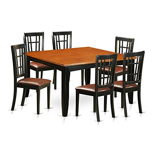 East West Furniture PFNI7-BCH-LC 7 Piece Dining Table and 6 Wooden Chairs Set