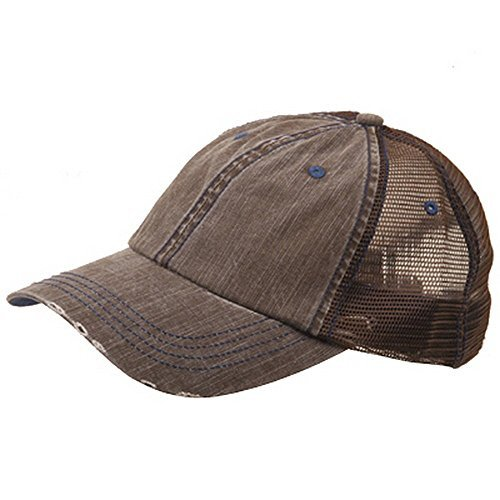 Lightweight Vintage Style Washed Mesh Trucker Baseball Cap Hat (Brown)