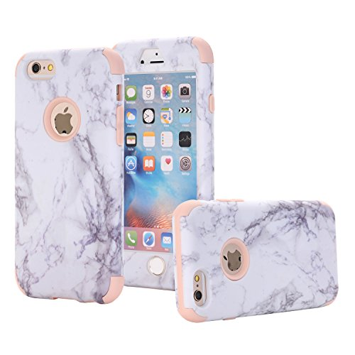 iPhone 6 Case, iPhone 6S Case, SUMOON [Drop Protection] Hybrid Heavy Duty Three Layer Verge Shockproof Full-Body Protective Armor Defender Case for iPhone 6 6s 4.7 Inch (Marble Rosegold) (Blue Leather Case Belt Clip)