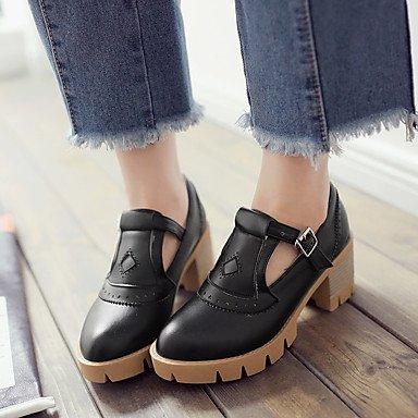 Zapatos de tacones de las mujeres Primavera Verano Otoño Invierno Comfort cuero sintético oficina y carrera Fiesta y Noche Casual hebilla de tacón grueso Negro Rosa Beige Black