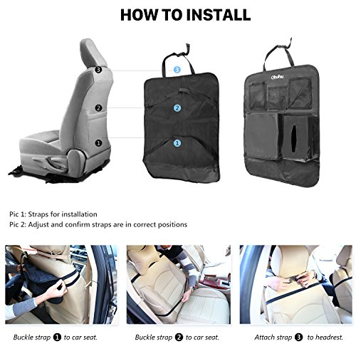Ohuhu 4 Packs Baby Child Car Seat Protectors and Kick Mat Car Back Seat Cover - 2 Sets Auto Seat Cover for Carseats and Kids Kick Mats with Backseat Organizer Pockets Storage - Perfect for Dog Mats by Ohuhu (Image #8)