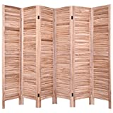 Brown Paulownia Wood 6 Panel Screen Room Divider Traditionally Styled
