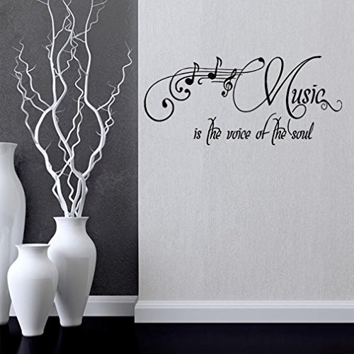 BIBITIME Musical Notes Wall Decals Sayings Music is the voice of the soul Inspirational Quotes Sticker Home Art Mural for Nursery Bedroom