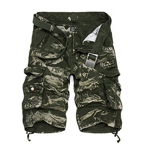 Elibone Camo Military Shorts Bermuda 2019 Summer Camouflage Cargo Shorts Men Cotton Loose Tactical Short Pants No Belt,Green Camo,34