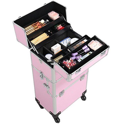 Yaheetech Aluminum Makeup Case Rolling, Removable 4 Wheels Salon Barber Case Cosmetic Organizer Trolley Extra Large Train CaseBig Makeup Case Pink