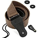 BestSounds Guitar Strap 100% Soft Cotton Genuine Leather Ends Strap for Acoustic Guitar, Electric Guitar, Bass, Banjos & Mandolins (Coffee)