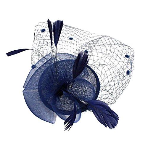 [Jili Online Wedding Royal Ascot Races Feather Fascinator 20s Charleston Cocktail Party Hat - Dark Blue] (Hats & Fascinators Online)