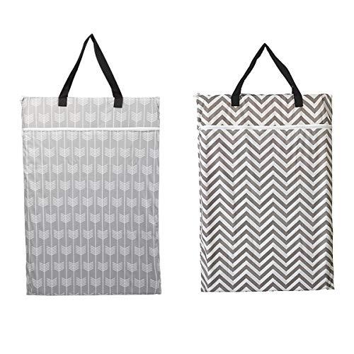 2 Pack Large Hanging Wet Bags Laundry Pail Bags Cloth Diapers Reusable (Arrow Chevron)