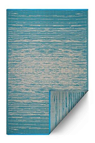 Fab Habitat Reversible, Indoor/Outdoor Weather Resistant Floor Mat/Rug - Brooklyn - Teal (3' x 5')