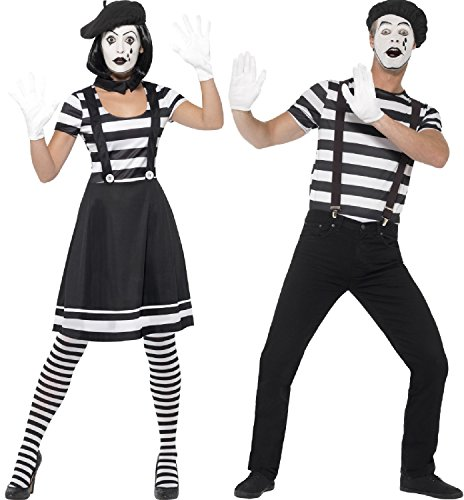 Ladies and Mens Black and White French Mime Artists Circus Performers Carnival Couples Fancy Dress Costumes Outfits (UK 8-10 & Mens Large) -